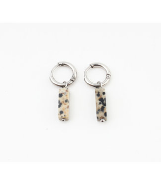 Dora Hoops Leopard NATURAL STONE SILVER - STAINLESS STEEL