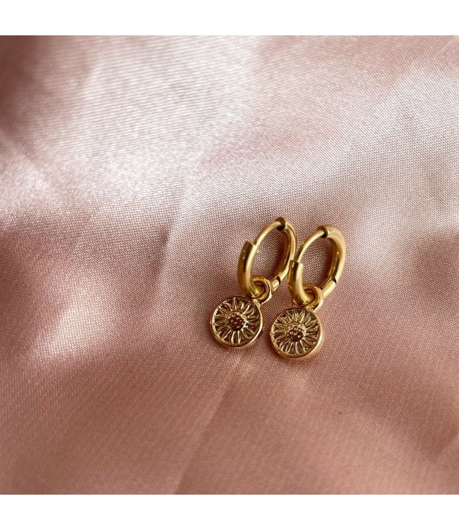 'Le tournesol' Earrings Gold - Stainless Steel