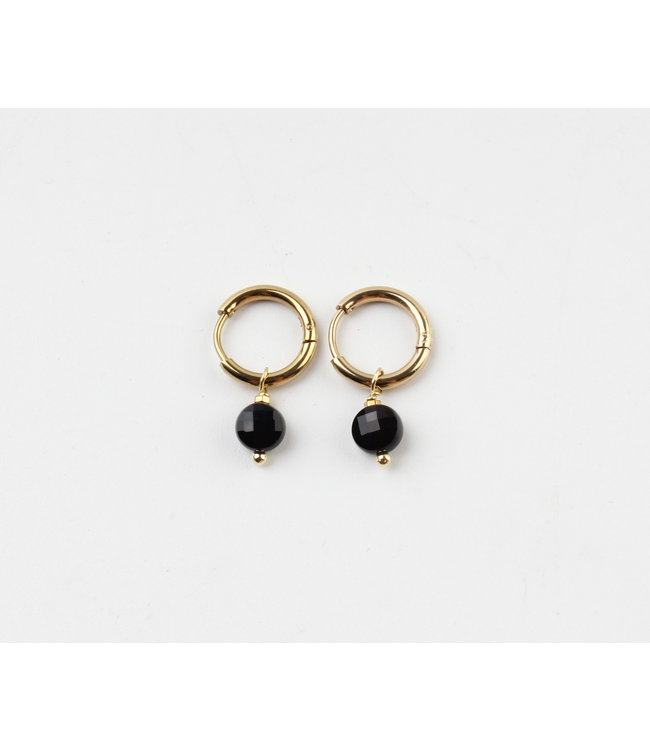 'Alba' Black Round Dot Earrings Gold  - Stainless Steel