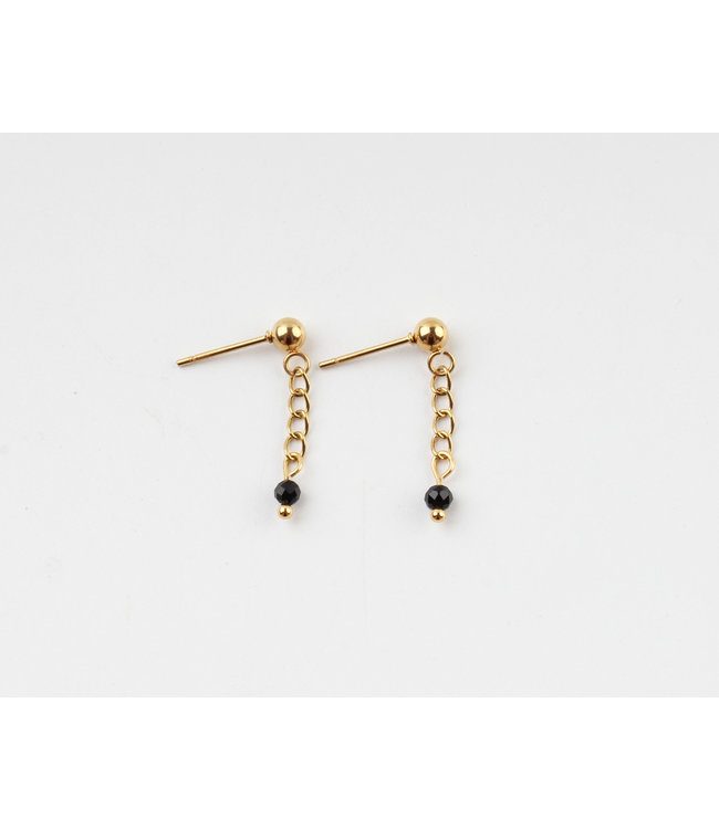 'Sara' Black Stone Chain Earrings Gold - Stainless Steel