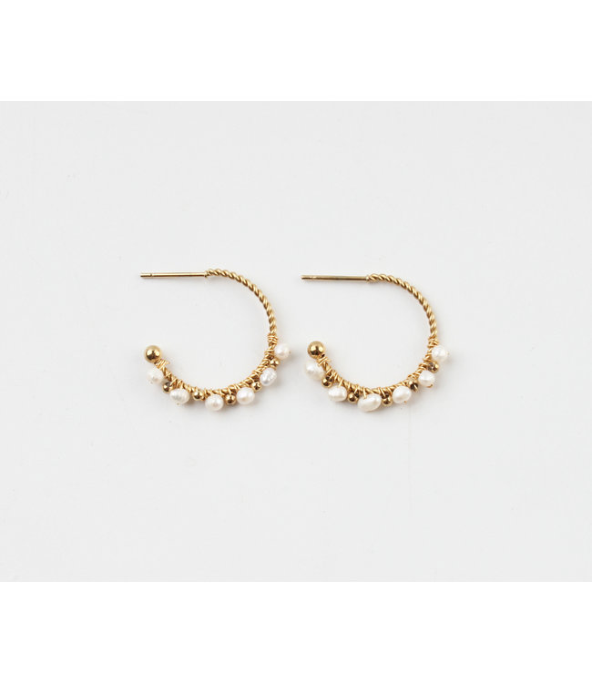 'Sofía' Gold White Pearl Hoops - Stainless Steel