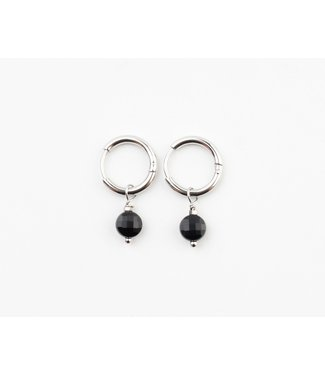 'Alba' Black Round Dot Earrings Silver - Stainless Steel