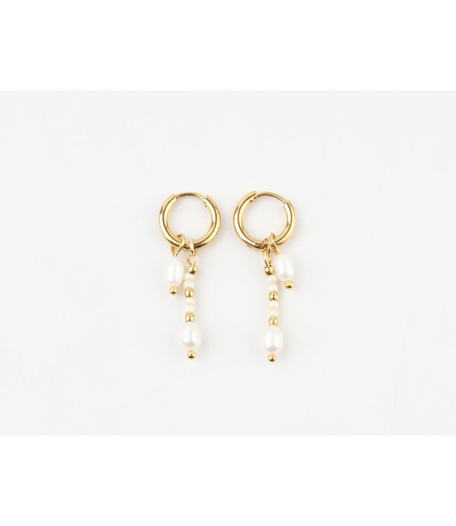 ' Aventure' Pearl Earrings Gold - Stainless Steel