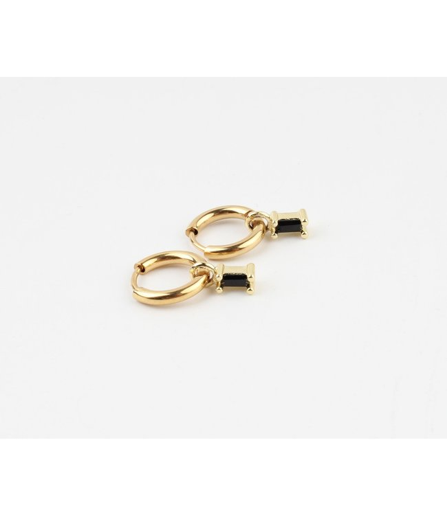 'Sans cesse' Earrings Gold Black Stone - Stainless Steel