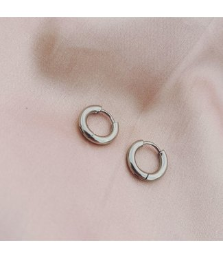 Basic Silver Earrings 1 CM - Stainless Steel