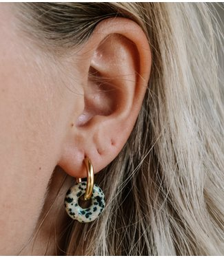 'Femme' Earrings Natural Stone Leopard Gold - Stainless Steel