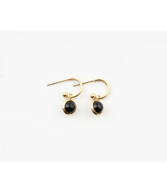 'Bella' Earrings Black Agate Natural Stone - Stainless Steel