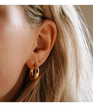 'Dolce' Thick Hoop Earrings Gold 2 CM - Stainless Steel