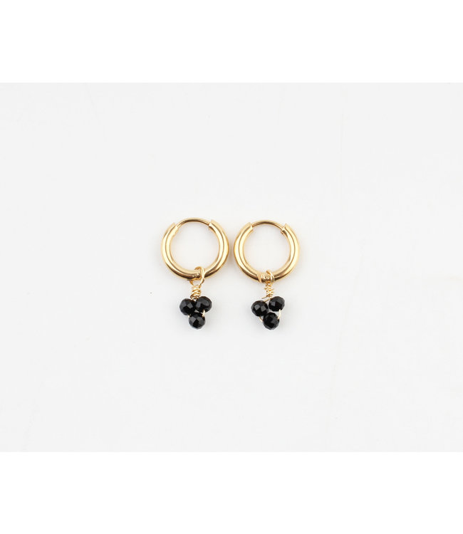 'Zara' Earrings Black & Gold - Stainless Steel