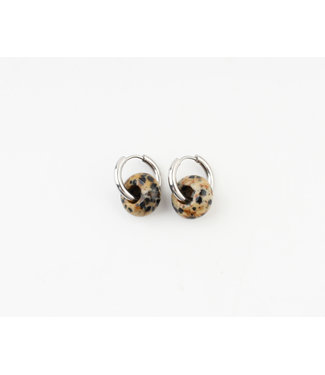 'Femme' Earrings Natural Stone Leopard Silver - Stainless Steel