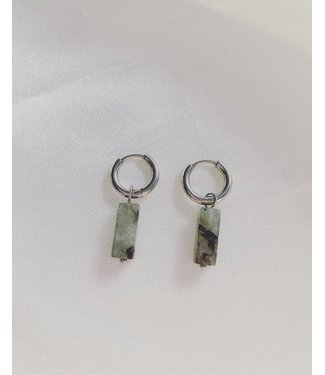 'AMOR' EARRINGS  SILVER  & GREEN / GREY - STAINLESS STEEL