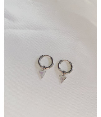 Little Triangle Earrings Silver - Stainless Steel