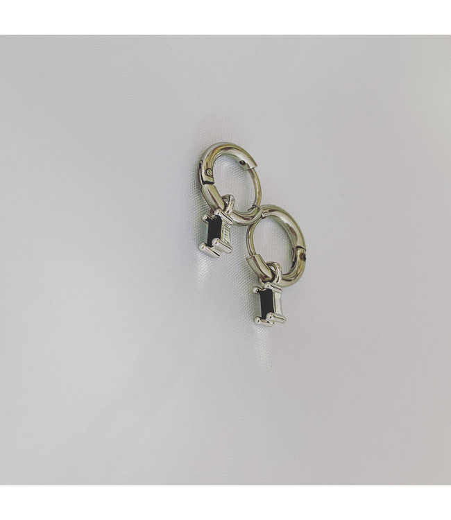 'Sans cesse' Earrings Silver Black Stone - Stainless Steel