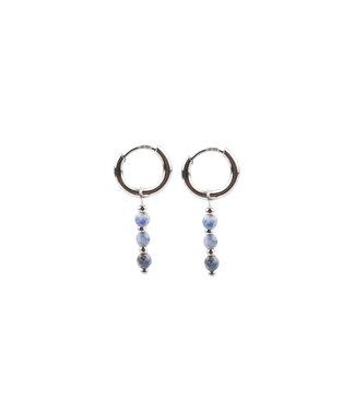 Mon Cheri Earrings Silver & Blue - Stainless Steel