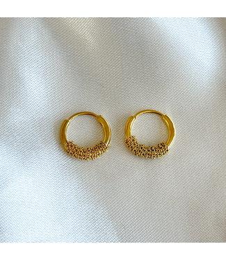 Gold 'Turned' earrings - Stainless Steel