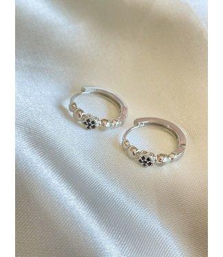 Round Black Flower Earrings Silver