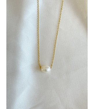Fresh Water Pearl Necklace Gold - Stainless Steel