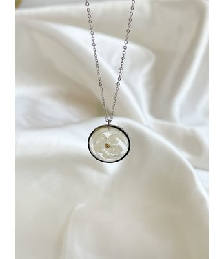 Dried Flower Necklace 'rêves sans fin' Silver - Stainless Steel