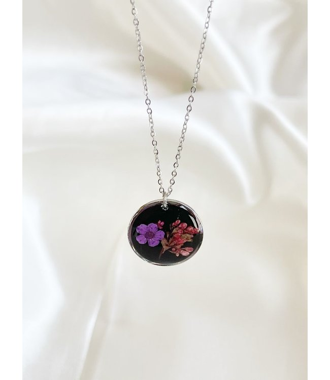 Dried Flower Necklace 'l'amour de soi' Silver - Stainless Steel