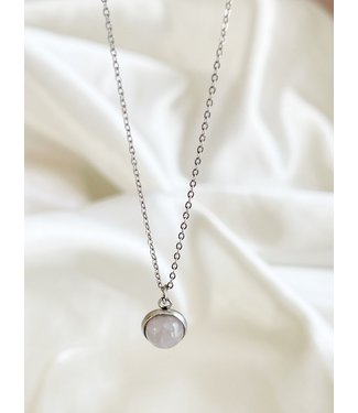 Rose Quartz  Necklace Silver - Stainless Steel