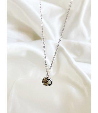 Dalmatian Jasper Necklace Silver - Stainless Steel