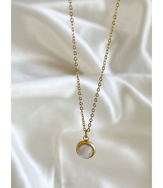 Rose Quartz  Necklace Gold - Stainless Steel