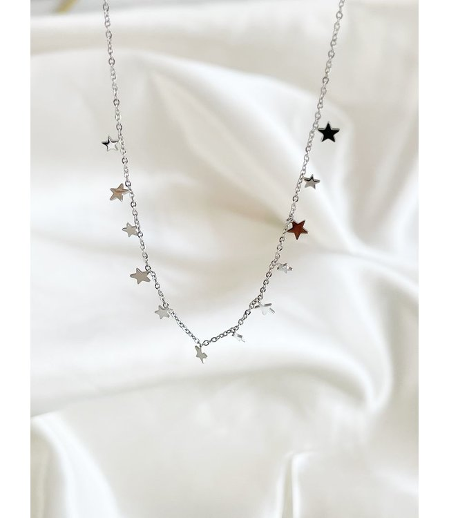 Silver Stainless Steel 'Little Stars' Necklace