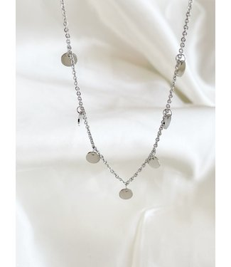 Silver Stainless Steel 'Coins' Necklace