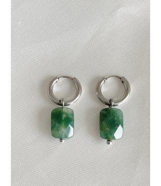 Green Aventurine Earrings Silver - Stainless Steel