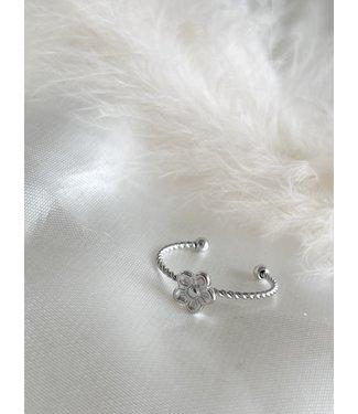 Daisy Twist Ring Silver - Stainless Steel (verstelbaar)