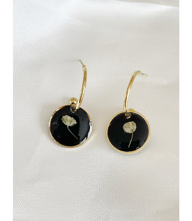Dried Flower Earrings Gold 'Amour éternel' - Stainless Steel