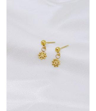 Little Daisy Stud Earrings Gold - Stainless Steel