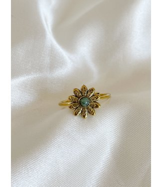 Gold Natural Stone Ring Daisy 'Turquoise' - Stainless steel