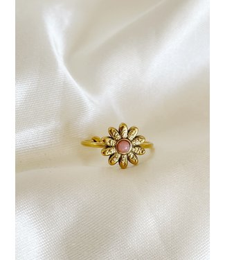 Gold Natural Stone Ring Daisy 'Rhodonite' - Stainless steel