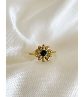 Gold Natural Stone Ring Daisy 'Black Agate' - Stainless steel