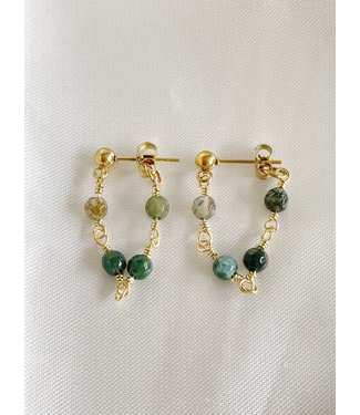 'Léa' Earrings Green Natural Stone - Stainless Steel