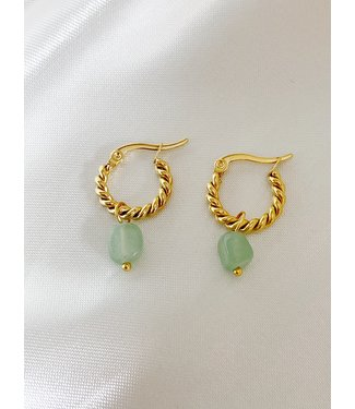 'Louane' Green Natural Stone Twist Hoops Gold - Stainless Steel
