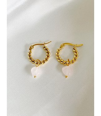 'Louane' Pink Natural Stone Twist Hoops Gold - Stainless Steel