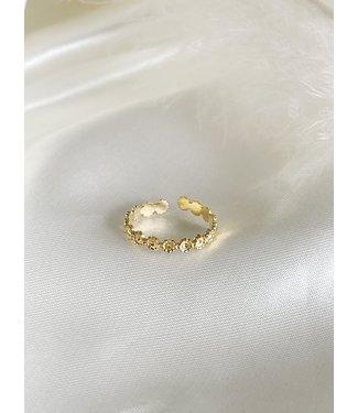 'Little Flowers' verstelbare ring Gold - Stainless steel