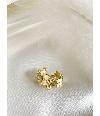 'Big Daisy Flower' verstelbare ring - Stainless steel