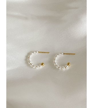 Small pearl hoops 1.2 CM - Stainless Steel