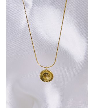 Round Flower Pendant Necklace Gold - Stainless Steel