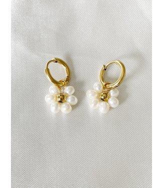 'Fleur Blanche' Earrings Gold - Stianless Steel