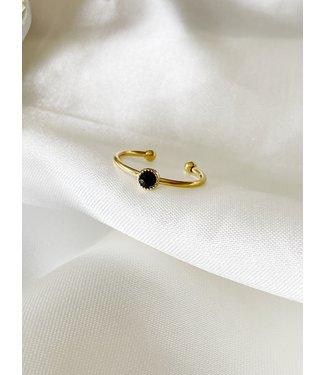 Black Stone Strass Ring (stainless steel) - verstelbaar