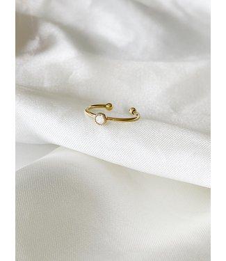 WHITE OPAL STONE STRASS RING (STAINLESS STEEL) - VERSTELBAAR
