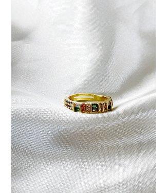 'Put a ring on it' ring multicolor - goud verguld (verstelbaar)