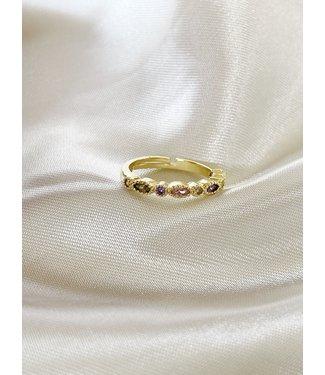 'Glitter Please' Ring - Goud verguld - verstelbaar)