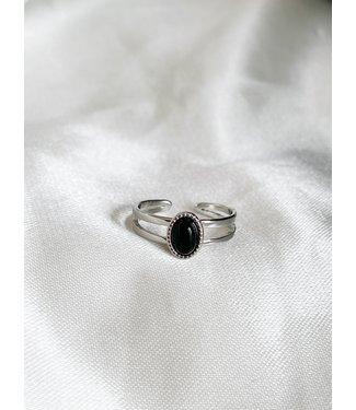 'Loua' Silver black natural stone ring stainless steel (verstelbaar)