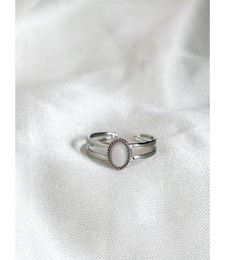 'Loua' Silver Rose Quartz ring stainless steel (verstelbaar)