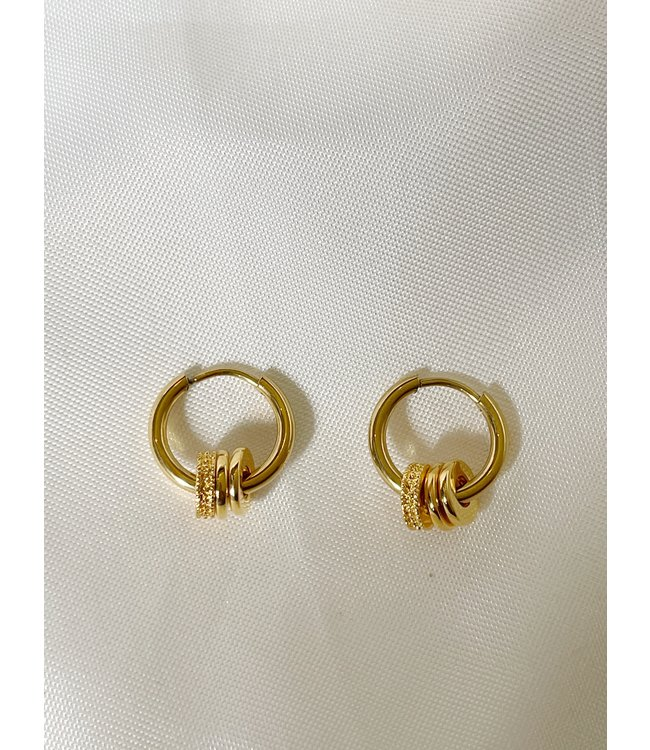 Strass Bali Hoops Gold - Stainless Steel